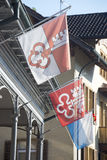Kantonschweizareflaggor Royaltyfri Foto