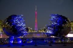Kantontoren in de nachtscènes van Guangzhou China royalty-vrije stock afbeeldingen