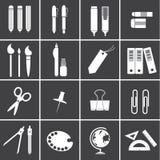 Kantoorbehoeftenpictogrammen Royalty-vrije Stock Afbeeldingen