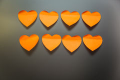 Kantoorbehoeftenstickers in de vorm van harten Royalty-vrije Stock Foto
