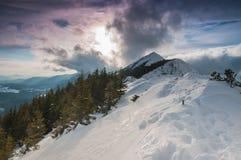 Kantslingan i Piatra Craiului berg, Rumänien Fotografering för Bildbyråer
