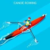 Kanu, das einzelnen Sommer-Spiel-Ikonen-Satz rudert isometrischer Kanufahrer 3D Paddler Olympics, die Kanu einzelner Paddler-Spor Lizenzfreie Stockfotografie