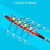 Kanu, das vierfachen Sculls-Sommer-Spiel-Ikonen-Satz rudert Isometrischer Kanufahrer Paddler der olympics-3D Rudersport-Kanu vier Stockfoto