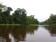 Kanuausflug, auf dem Fluss, Tortuguero stockfotografie