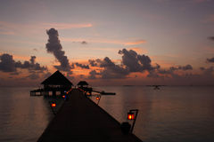 Kanuhura Resort Maldives. Sunset on a beautiful Resort Island located in the Maldive Islands Royalty Free Stock Images