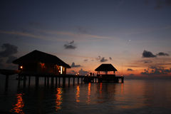 Kanuhura Resort Maldives. Sunset on a beautiful Resort Island located in the Maldive Islands Stock Images