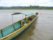 Kanurollen auf Fluss im Dschungel stockfoto