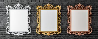 Kanwa z rocznika złotem, srebro, broze ramy na ściana z cegieł ilustracja wektor
