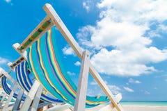 Kanwy plażowy łóżko na plaży Obrazy Stock