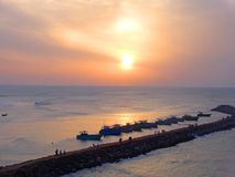 Kanyakumari, India. A view of sunrise in Kanyakumari, India from Indian Ocean Stock Photography