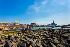 Kanyakumari Indians People Swimming Rocky Beach Royalty Free Stock Photography