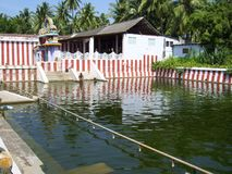 Kanyakumari, Tamil Nadu, Indien - 8. Oktober 2008 kleiner Teich A grüne Farbnahe Nagaraja-Tempel Stockfoto