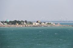 Kanyakumari Town and wind mill Royalty Free Stock Photography
