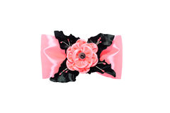 Kanzashi 在白色后面隔绝的弓的桃红色人造花 库存图片