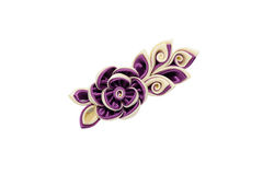 Kanzashi. Beige purple artificial flowers isolated on white back Stock Photo