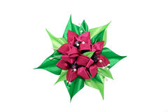 Kanzashi. Dark pink artificial flowers isolated on white backgro Royalty Free Stock Images