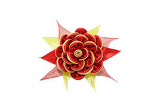 Kanzashi Flor artificial amarela vermelha isolada no backgro branco Fotografia de Stock