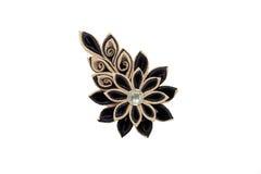 Kanzashi Härlig guld- svart konstgjord blomma med brokad, Royaltyfri Foto