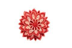 Kanzashi Röd konstgjord blomma som isoleras på vit bakgrund Fotografering för Bildbyråer