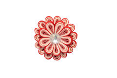 Kanzashi. Red artificial flower with brocade isolated on white b Stock Photography