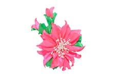 Kanzashi Roze die kunstbloem op witte achtergrond wordt geïsoleerd Stock Afbeelding
