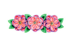 Kanzashi. Violet artificial flowers isolated on white background Royalty Free Stock Photography