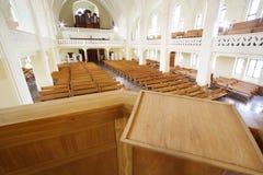 Kanzel in der evangelischen lutherischen Kathedrale Stockbild