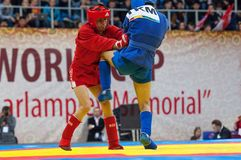 Kanzhanov B. (Red) vs Umbayev N. (Blue) Royalty Free Stock Image