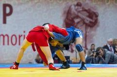 Kanzhanov Beimbet (R) and Umbayev Nasimi (B)  fight Stock Photo