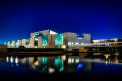 Kanzleramt in Berlin at night royalty free stock photography