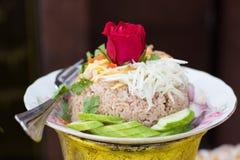 Kao Cluk Ka Pi Mixed ha cucinato il riso con gamberetto Fotografie Stock Libere da Diritti