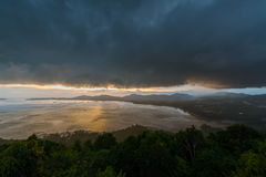 Kao Khad Viewpoint of Phuket city at sunset time with raincloud, Stock Images
