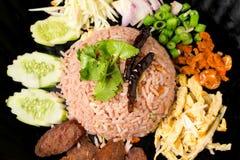 Kao Klook Ga-pi (Rice Mixed with Shrimp paste) closeup.  Stock Photography
