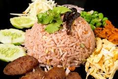 Kao Klook Ga-pi (Rice Mixed with Shrimp paste) closeup.  Stock Photos