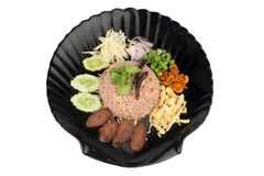 Kao Klook Ga-pi (Rice Mixed with Shrimp paste) on white backgrou. Nd Royalty Free Stock Images