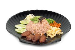 Kao Klook Ga-pi (Rice Mixed with Shrimp paste) on white backgrou. Nd Stock Photography