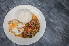Kao Pad Kra Prao or Thai rice with pork and basil and fried egg. Kao Pad Kra Prao or Thai rice with pork and basil and fried egg Royalty Free Stock Image