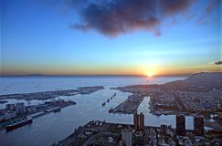 Kaohsiung City and Harbor at Sunset Royalty Free Stock Photos