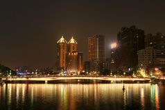 Kaohsiung City by Night. The Love River in downtown Kaohsiung at evening time Royalty Free Stock Images