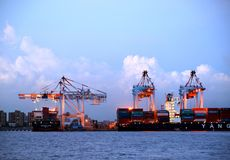 Kaohsiung Container Terminal at Dusk Stock Photography