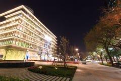Kaohsiung Główna biblioteka publiczna przy nocą obrazy stock