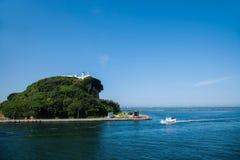 Kaohsiung hamn från anslutningens skepp Royaltyfria Bilder