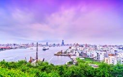 Kaohsiung hamn på skymning Fotografering för Bildbyråer