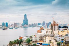 Kaohsiung harbor and city view from Cijin island in Taiwan. Kaohsiung harbor and cityscape from Cijin island in Taiwan royalty free stock photos
