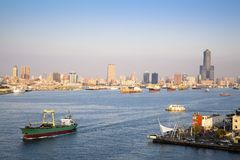 Kaohsiung harbor  in Taiwan. Cityscape of Kaohsiung harbor  in Taiwan Stock Photography