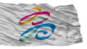 Kaohsiung stadsflagga, Taiwan som isoleras på vit bakgrund stock illustrationer