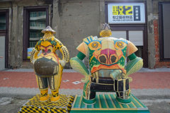 Kaohsiung, Taiwan - 22 gennaio 2016: La scultura nel Pier-2 Art Center Fotografie Stock Libere da Diritti