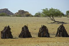 Kaokoland rural art. Rural arcitectural art with old car and house in Kaokoland, Namibia Royalty Free Stock Photos