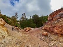 Kaolin kopalnia, Quattropani w Lipari, Eolowe wyspy, Sicily, Włochy Obrazy Stock