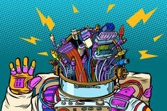 Kaos av adapteren kablar, cyberastronautet från framtiden stock illustrationer